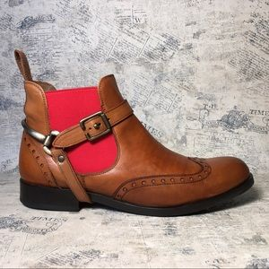 Pertini brown leather booties with red elastic
